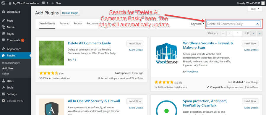 Search for the 'Delete All Comments Easily' Plugin
