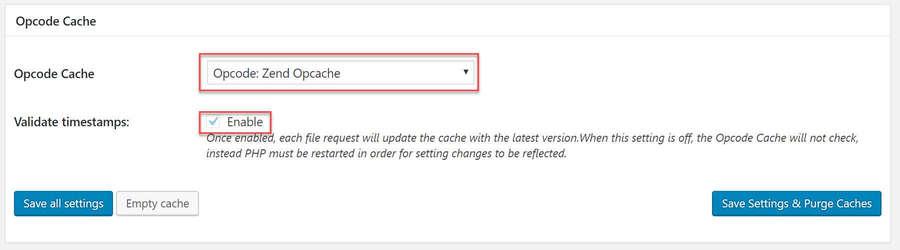 Configure Opcode Cache