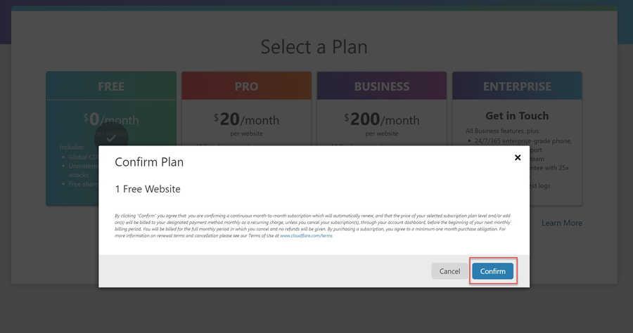 Confirm Plan