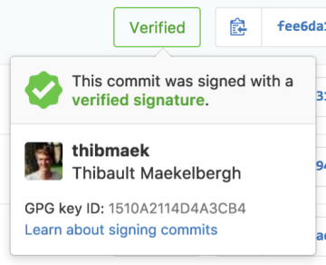 The verified badge next to Github commits