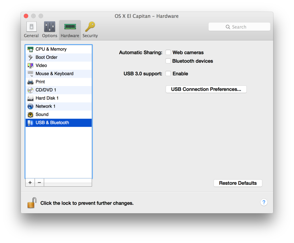Disable Facetime and USB 3 in Parallels