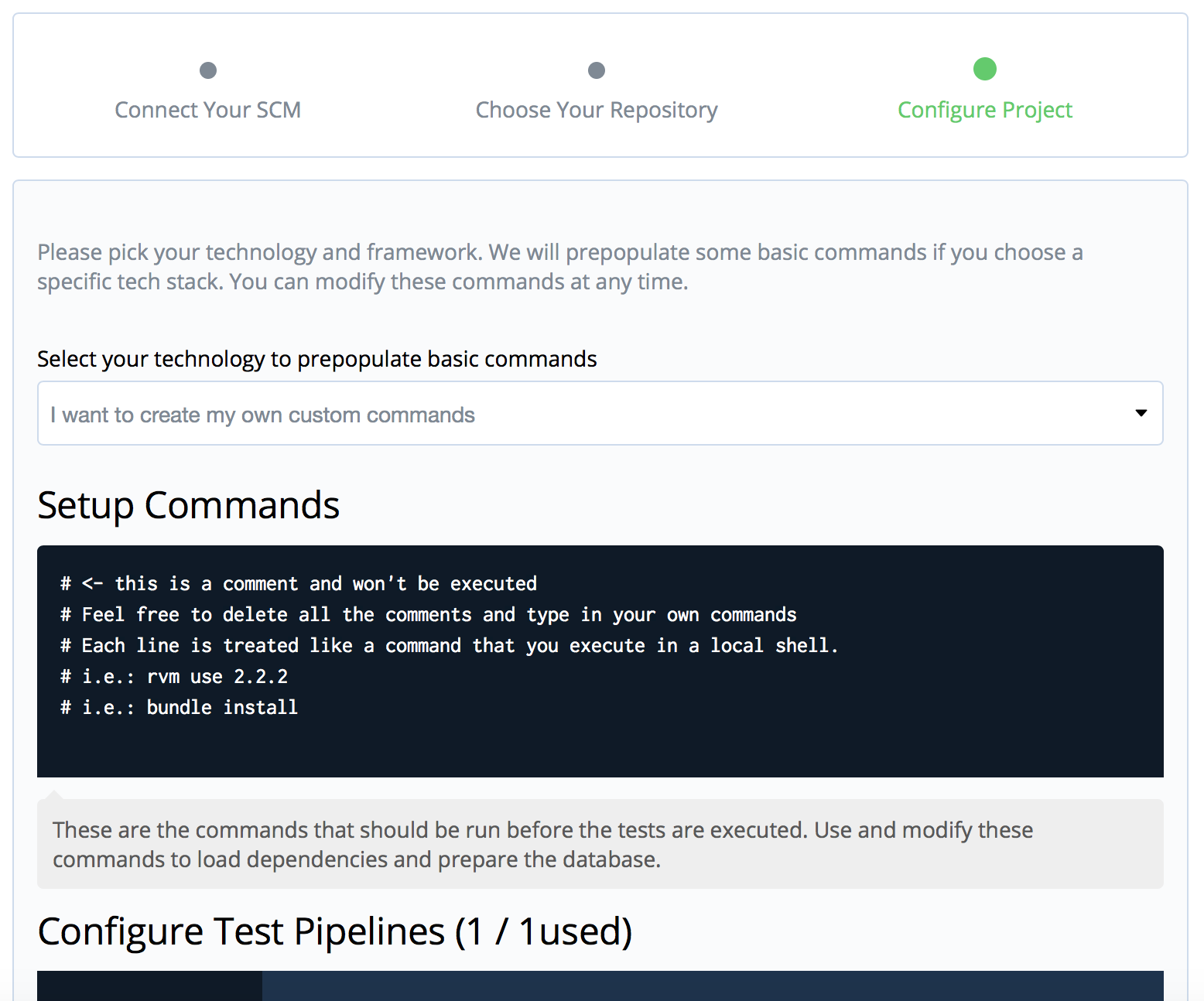Screenshot for setup on Codeship