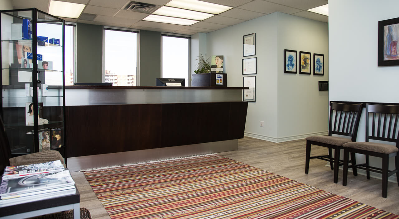 Reception desk of Toronto plastic surgery office of Dr. Leila Kasrai.