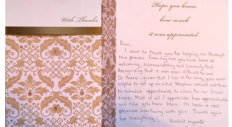 Card saying thank you to patient coordinator of plastic surgery.