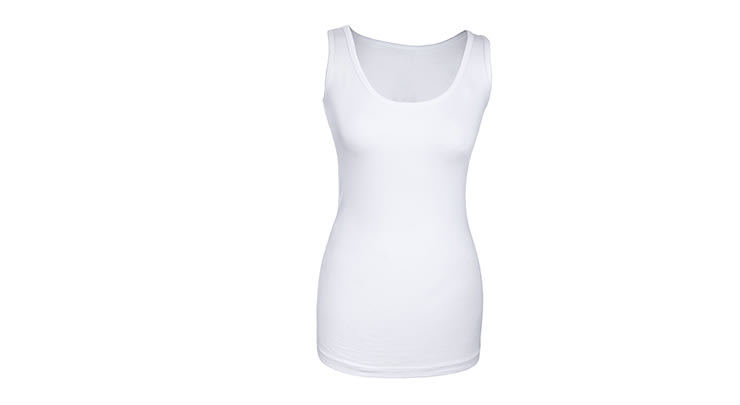 Plain white cotton tank top to wear under a tummy tuck compression garment.