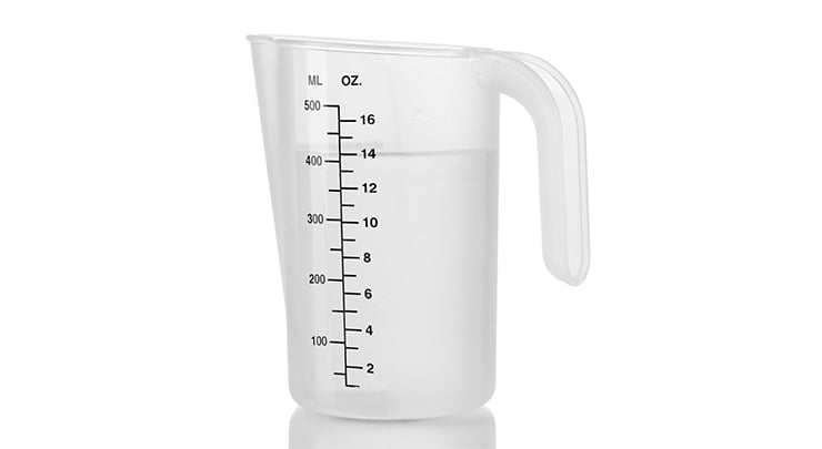 05d856a9a Water in measuring cup used for water test in measuring breast implant size.