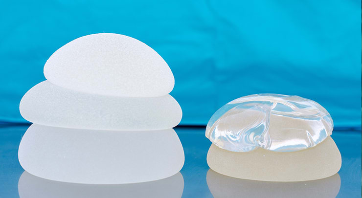 Breast implants on table for breast augmentation.