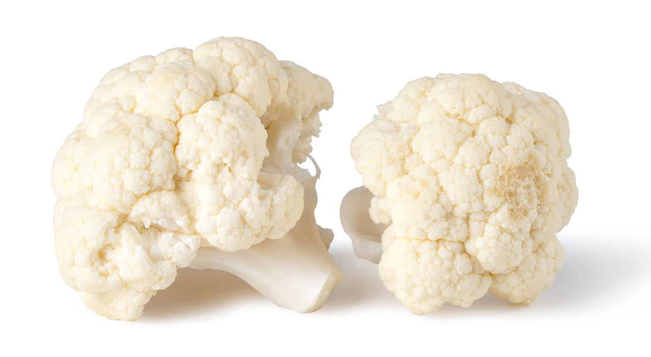 Cauliflower on white background to represent cauliflower ear deformity.