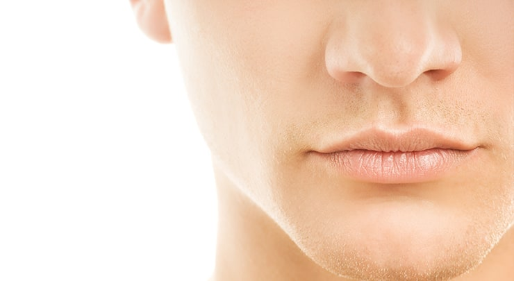 Close up of man's nose.