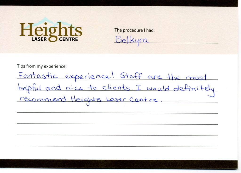 heights laser centre medical spa vancouver testimonial