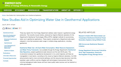 Optimizing water use for geothermal applications, reports by U.S. DOE