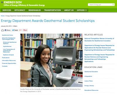 Recipients of U.S. DOE geothermal student scholarships