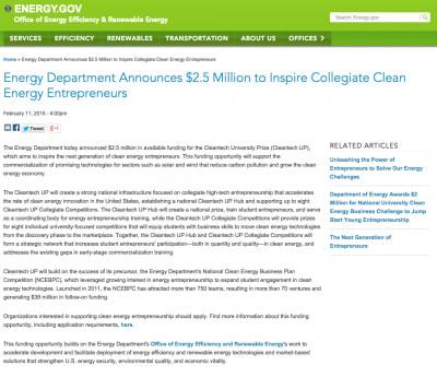 U.S. DOE announces Cleantech University prize for student entrepreneurs
