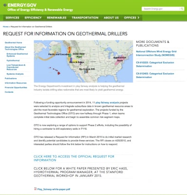 U.S. Request for information on geothermal drillers