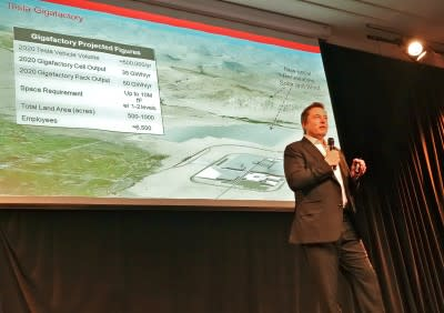 Batteries and Tesla's Gigafactory in Nevada, powered by geothermal