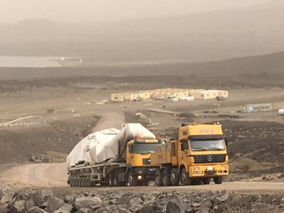 Drilling rig on the way to site of geothermal project at Fiale Caldera in Djibouti, Africa
