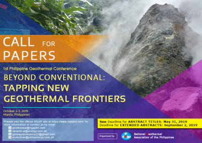 1st Philippine Geothermal Conference – October 2-3, 2019
