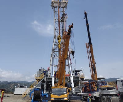 Rigs being set up for on site of Aluto-Langano geothermal project in Ethiopia