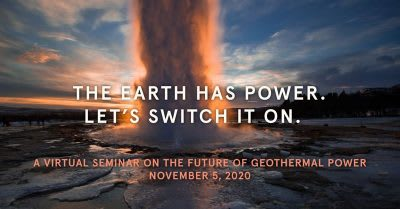 Accelerating development – virtual event on future of geothermal power – Nov. 5, 2020