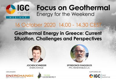 Webinar – Geothermal Energy in Greece, an overview & outlook, 16 Oct. 2020