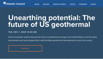 Webinar – Unearthing potential: The future of US geothermal – Dec. 1, 2020