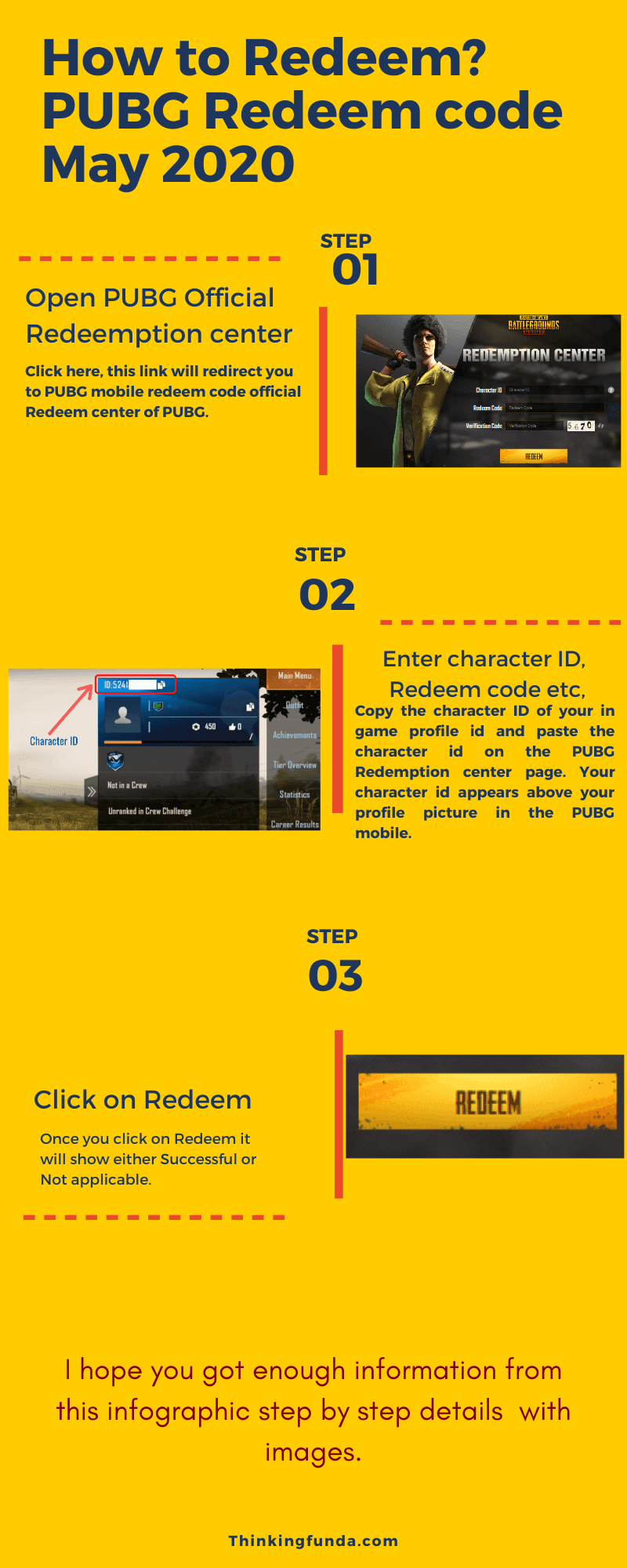 PUBG Redeem code may 2020 Infographic