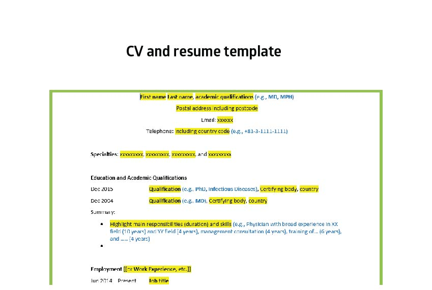 CVs and resumes for international positions