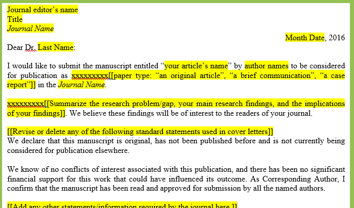 Writing effective cover letters for journal submissions for Cover letter for revised manuscript sample