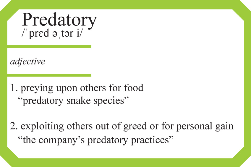Definition of the word predatory