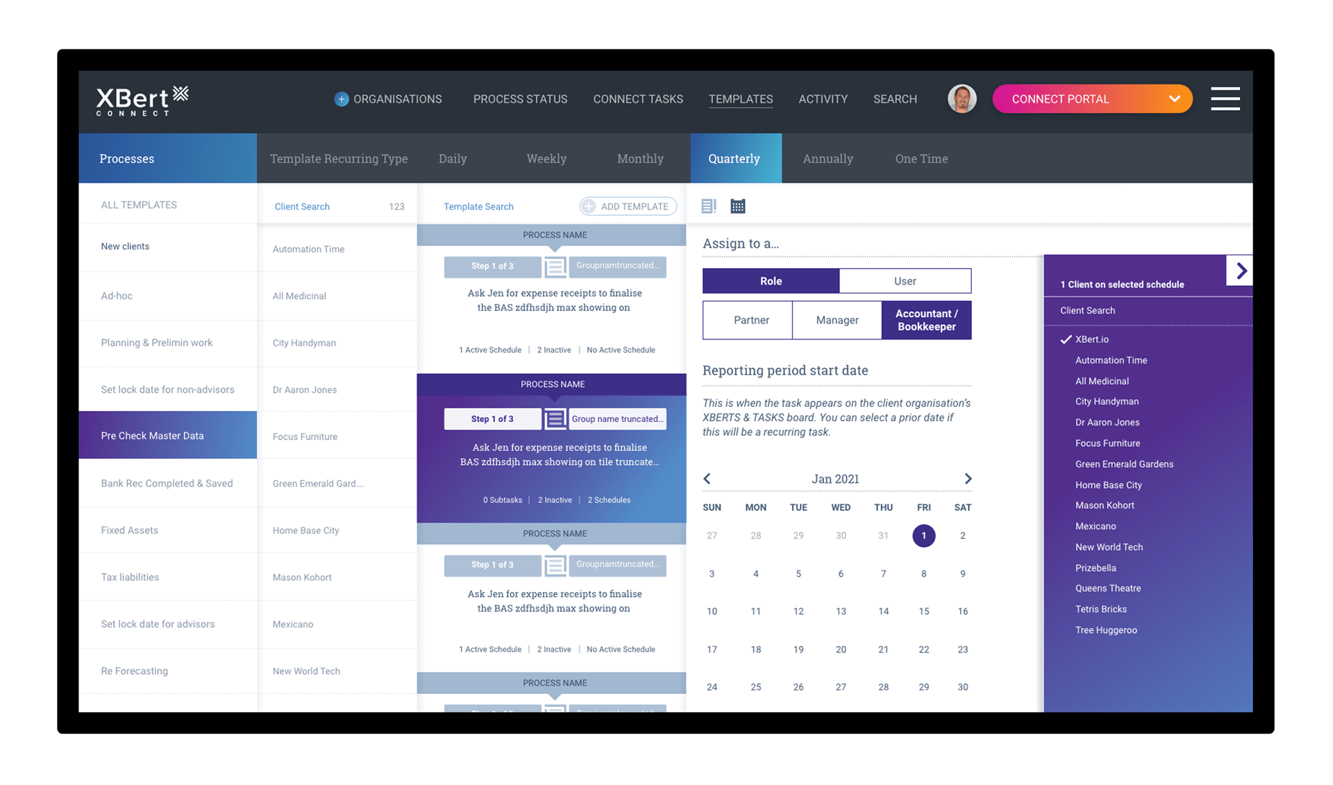 Templates and Client Scheduling