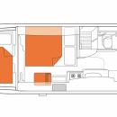 Australian Frontier Campervan Night Floorplan