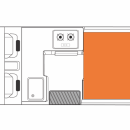 Australian HiTop Campervan Night Floorplan