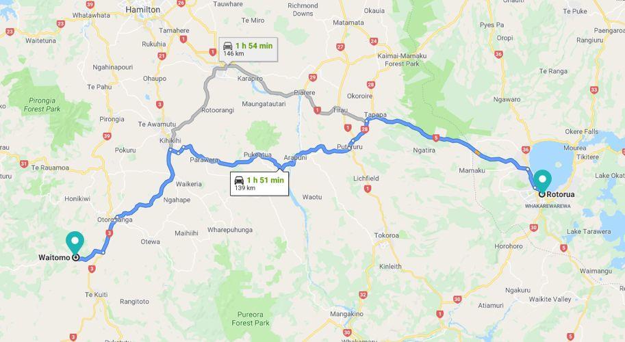 From Rotorua Map