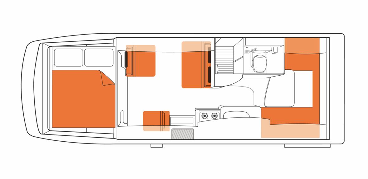 Australian Frontier Campervan Day Floorplan