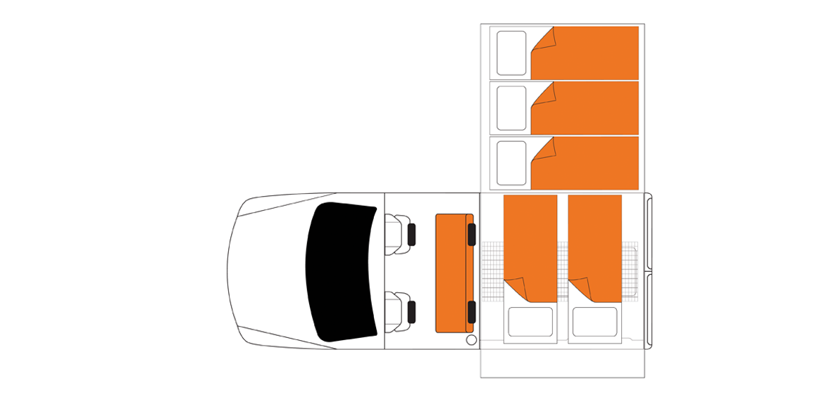 Australian Landcruiser Campervan Night Floorplan