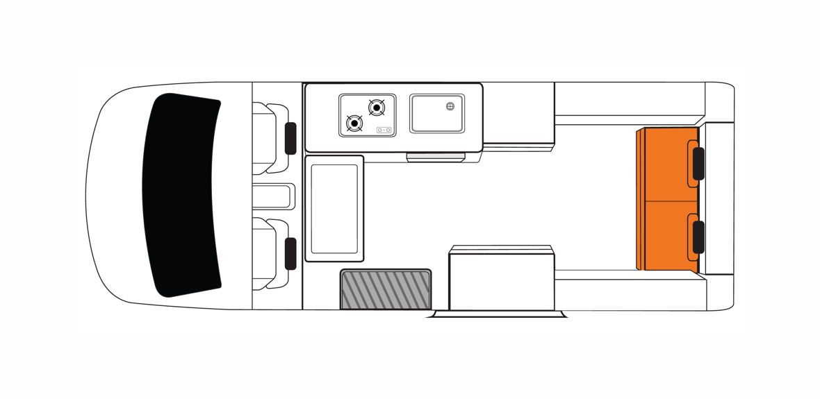Australian Voyager Campervan Day Floorplan