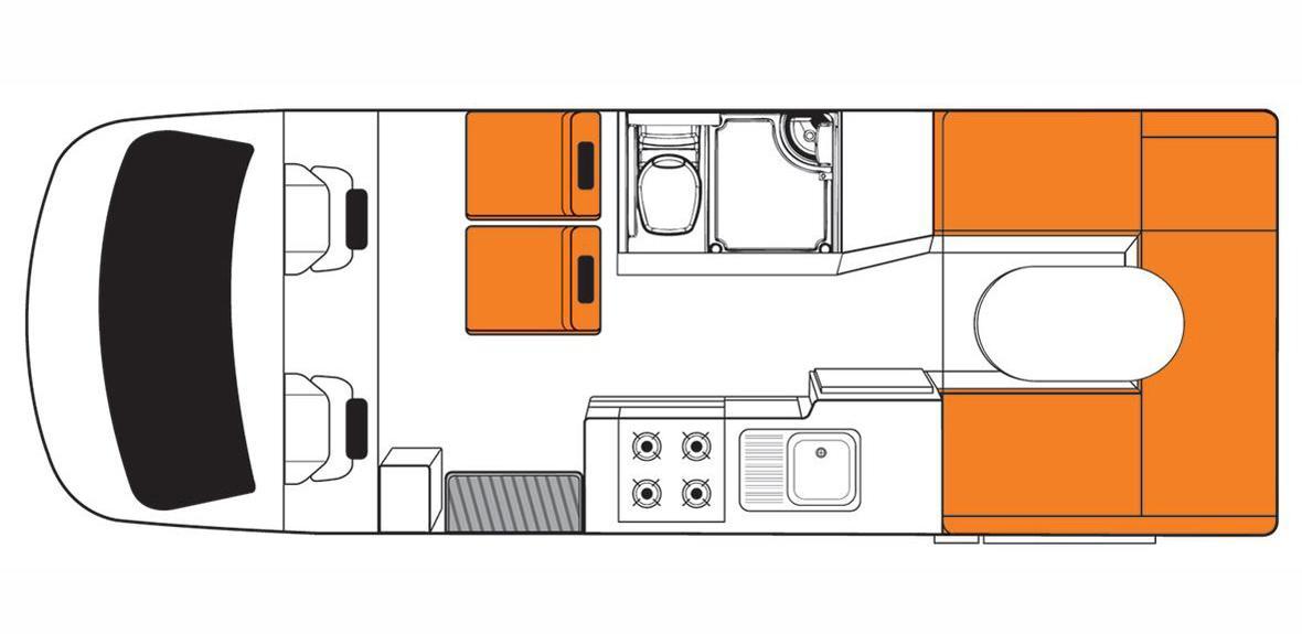 Australian Discovery Campervan Day Floorplan