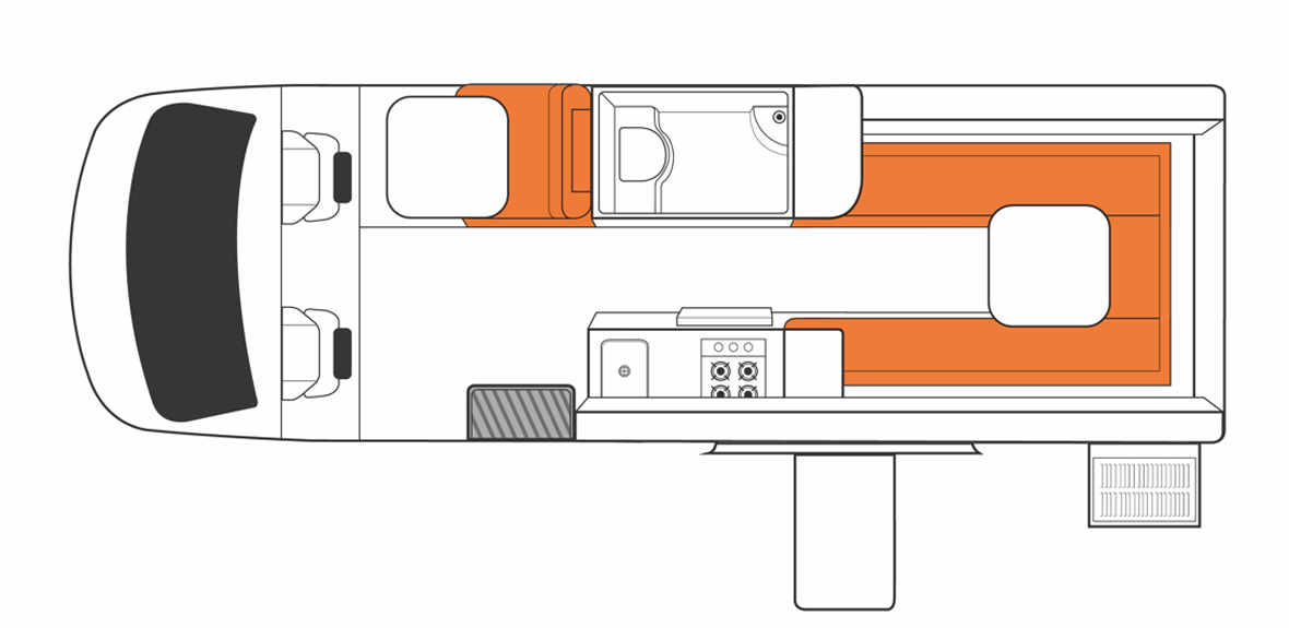 Australian Venturer Plus Campervan Day Floorplan