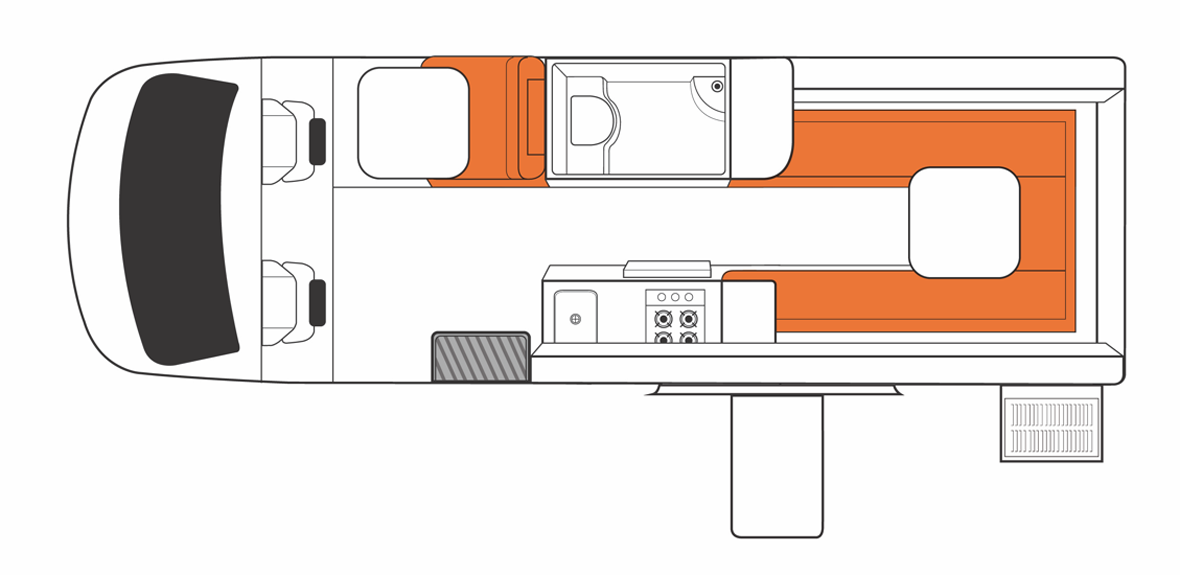 Australian Venturer Campervan Day Floorplan