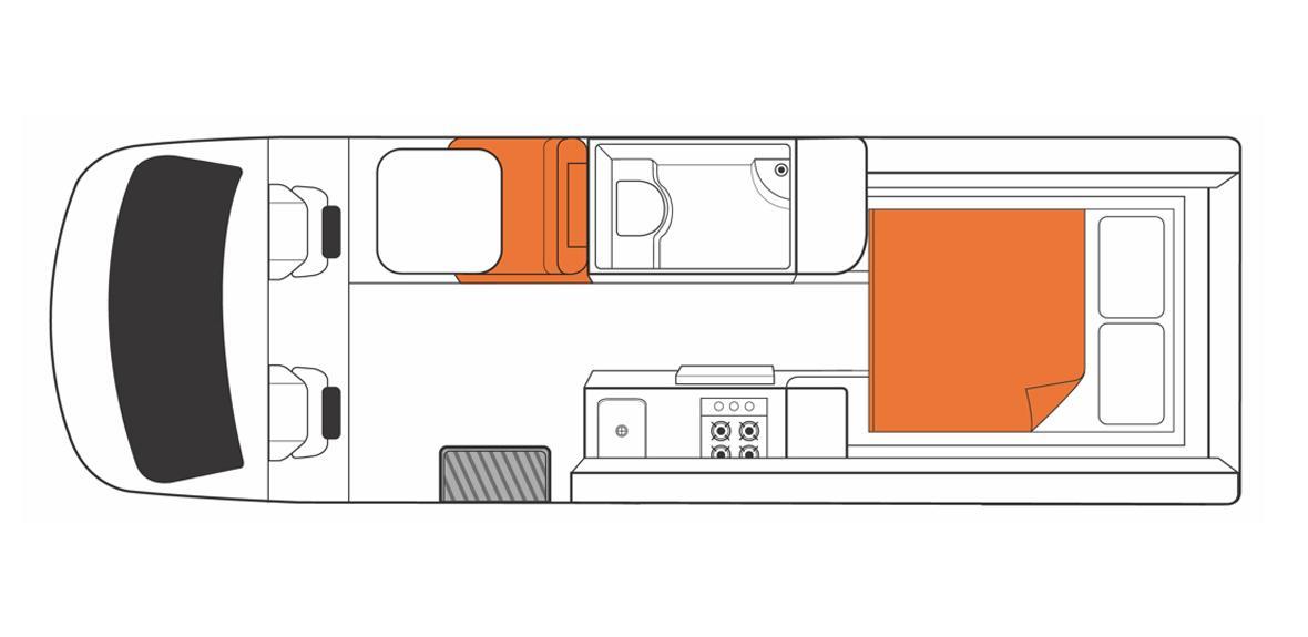 Australian Venturer Campervan Night Floorplan