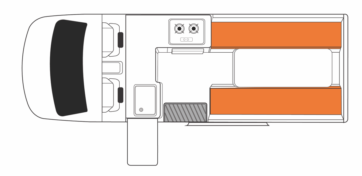Australian HiTop Campervan Day Floorplan