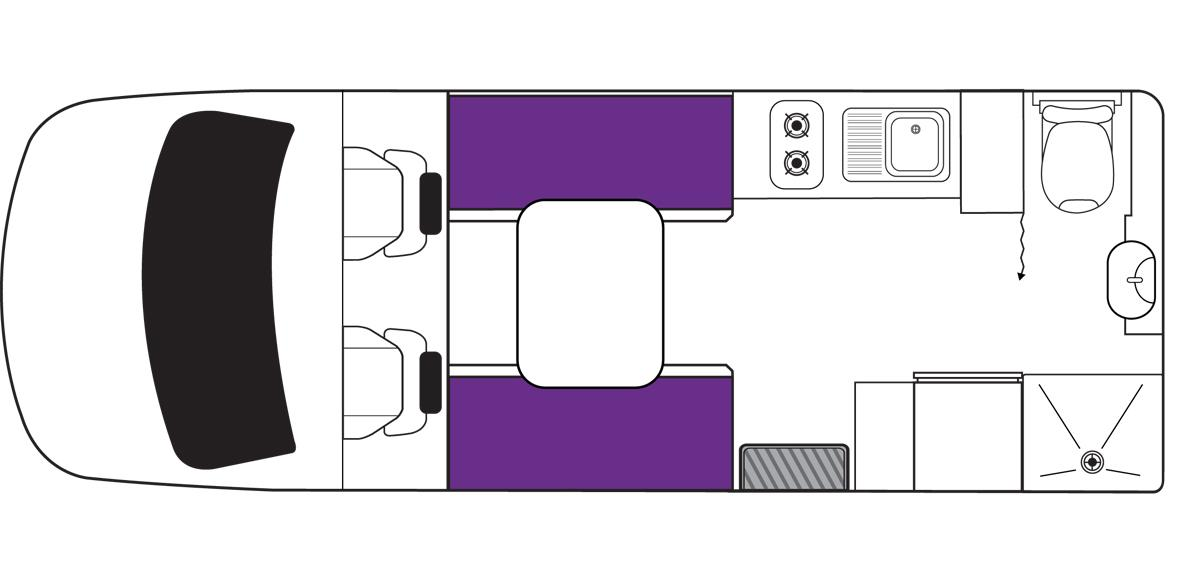 Australian Freedom Campervan Day Floorplan