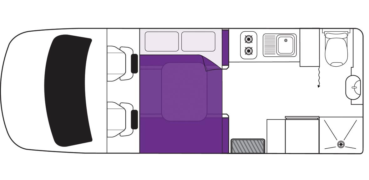 Australian Freedom Campervan Night Floorplan