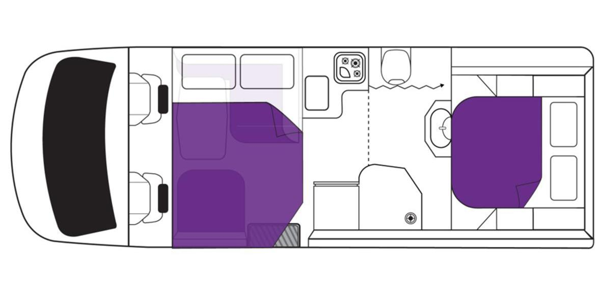 New Zealand Cruiser Campervan Night Floorplan