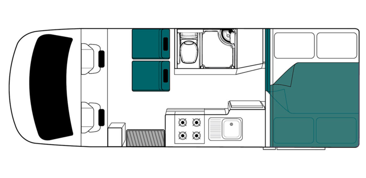 New Zealand maui Cascade Motorhome Floorplan Night