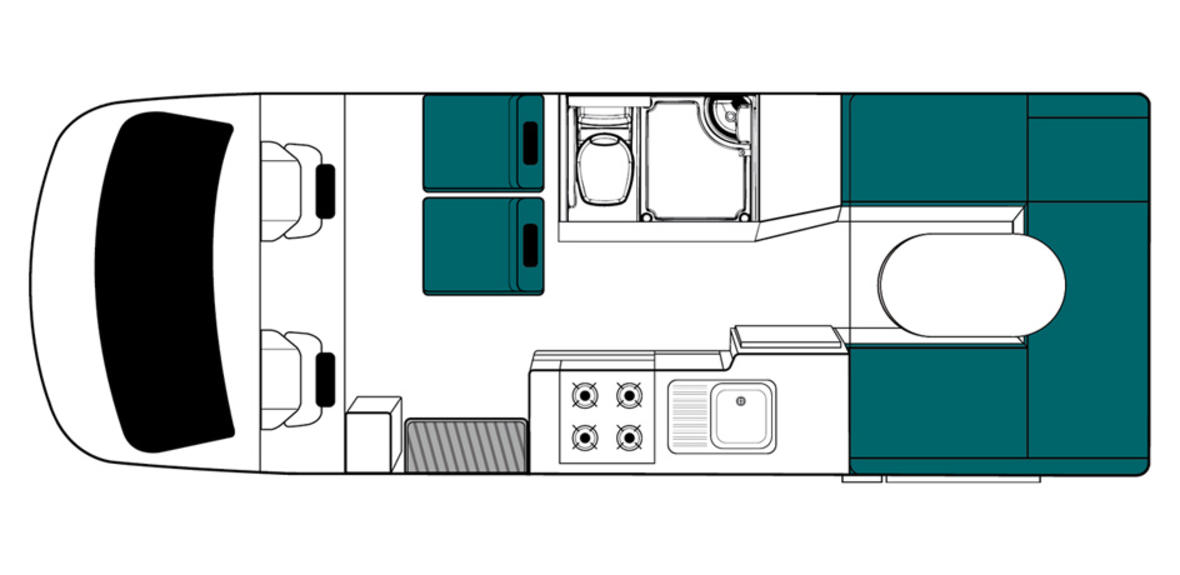 New Zealand maui Cascade Motorhome Floorplan Day