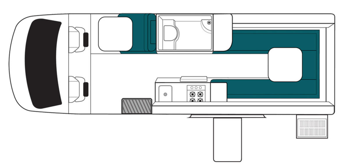 New Zealand maui Ultima Plus Motorhome Floorplan Day