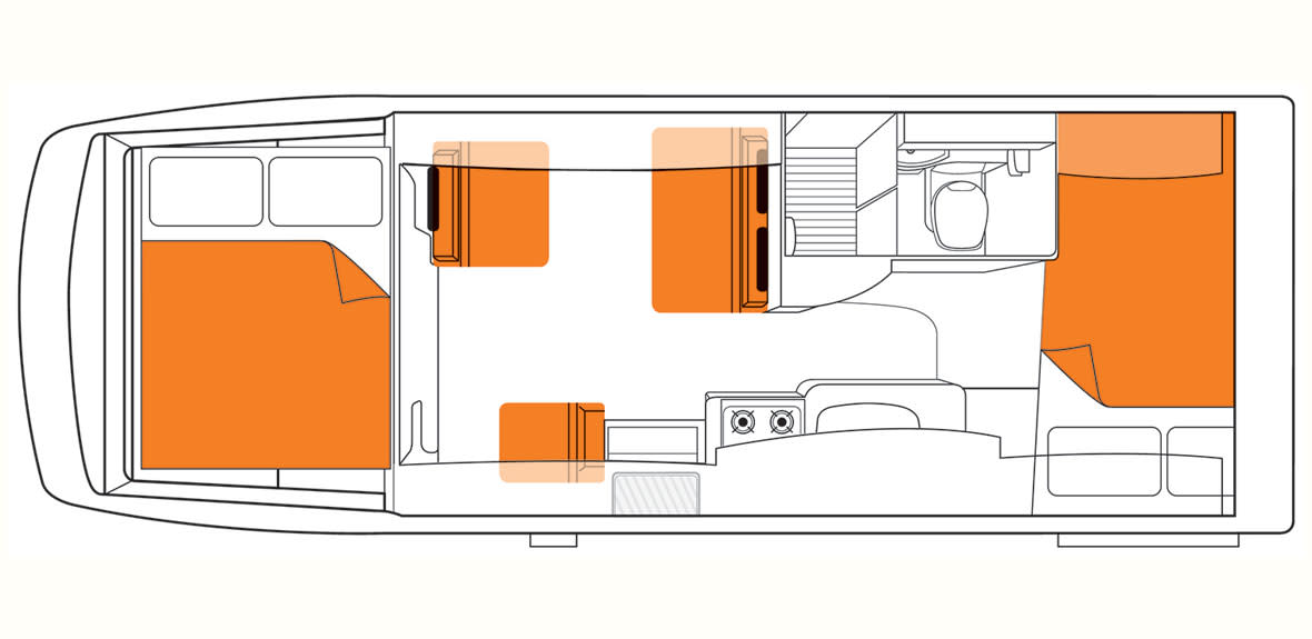 Australian Explorer Campervan Floorplan Night JAB