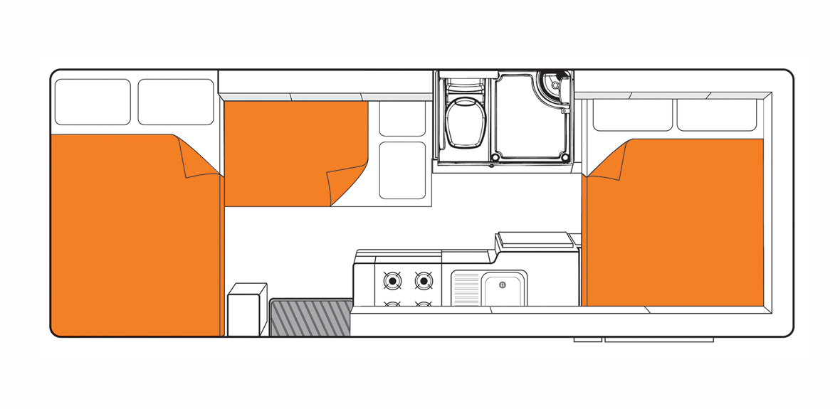 Australian Frontier Campervan Night Floorplan