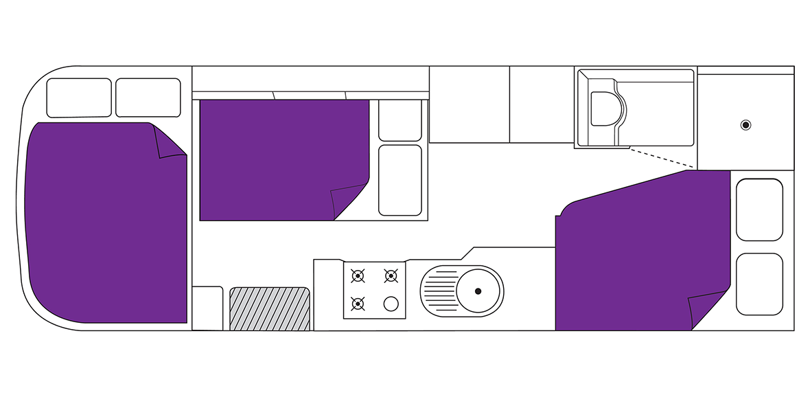 Australian Traveller Campervan Night Floorplan